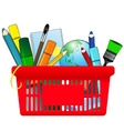 Shopping card with school supplies vector image vector image