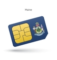 state maine phone sim card with flag vector image vector image