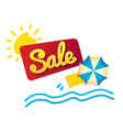 sticker summer sale beach umbrella and waves vector image