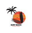 sunset surf beach vector image vector image