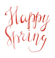 Watercolor Calligraphical inscription Happy Spring vector image