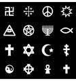white religious symbols set vector image vector image