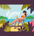 young woman sunbathing on a beach vector image