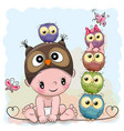 baby boy in a owl hat and five owls vector image