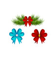 set of red gift bows ribbon in design vector image