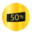 50 off discount sticker sale golden tag isolated