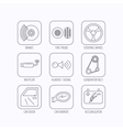 Accumulator brakes and steering wheel icons vector image vector image