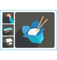 Asian food flat icons vector image vector image