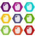barrel of beer icon set color hexahedron vector image