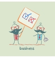 Boss shows a poster with a choice of business vector image