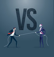 businessman pulling rope with robot - tug of war vector image vector image