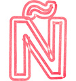 Capital letter N drawing with Red Marker vector image vector image