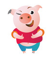 cartoon pig approves with thumb up and winks vector image vector image