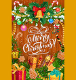 christmas tree gifts garland on wooden background vector image vector image