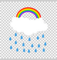 cloud with rainbow and rain vector image vector image