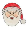 color crayon stripe cartoon of santa claus face vector image vector image