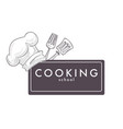 cooking school monochrome sketch outline chefs hat vector image