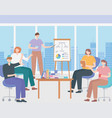 coworking group people working together in office vector image