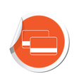 credit cards icon orange label vector image