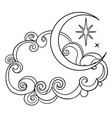 crescent moon all seeing eye lightning bolts vector image