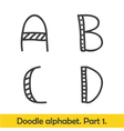 Cute hand drawn alphabet doodle letters A-D vector image vector image