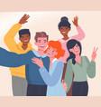 diverse multiracial happy men women vector image