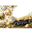 easter day design of gold eggs and giftbox vector image