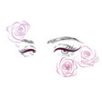 female eyes and roses drawing long eyelashes vector image vector image