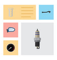 flat component set of auto component spare parts vector image vector image