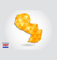 geometric polygonal style map of paraguay low vector image