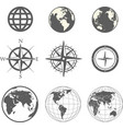 Globe and wind rose scheme collection vector image vector image