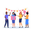 group happy male and female characters vector image vector image