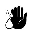 hand and water drop line icon isolated vector image vector image