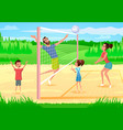 happy family playing sports in park cartoon vector image