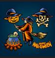 happy halloween pumpkins set element vector image