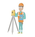 hispanic surveyor builder working with theodolite vector image vector image
