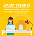 home smart speaker concept banner flat style vector image vector image