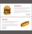 hot dog and hamburger set vector image vector image