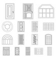 isolated object of door and front symbol set of vector image