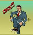 man breaks laptop in anger vector image vector image