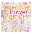 Memory Techniques Tips text background wordcloud vector image vector image