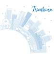 Outline Kinshasa Skyline with Blue Buildings vector image vector image
