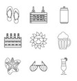 packing of beer icons set outline style vector image vector image
