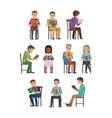 people seating and reading textbook flat vector image vector image