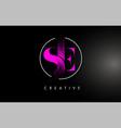 pink se brush stroke letter logo design vector image vector image