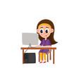 pretty teenage girl working on using computer vector image
