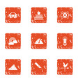 rainbow place icons set grunge style vector image vector image