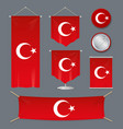 realistic 3d detailed turkey flag banner set vector image vector image