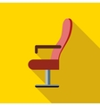 Red cinema armchair icon flat style vector image vector image