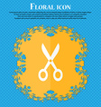 Scissors icon Floral flat design on a blue vector image